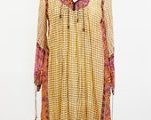 RESERVED FOR LINDE Boho Hippie Indian Metallic Gauze Dress