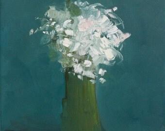 Bouquet Painting  original painting fine art Painting Peacock Blue White Flowers  Simple Days  11 x 14 Swalla Studio