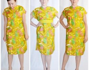 SALE Vintage 1960s Dark Yellow Lime Coral Cotton Hawaiian Polynesian Asian Print Shift Dress Sz M