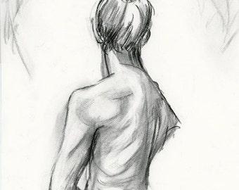 original charcoal drawing, Female Figure Back II, drawing, woman, life drawing, sketch