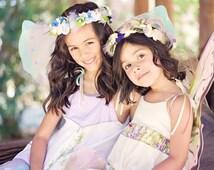 Bluebird fairy dress, Fairy princess dress, Fairy wings, Fairytale, girls dress up, Flower crown halo, tulle skirt, girls dress, Flower girl