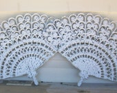 2 Shabby Chic Chippy White Wall Hanging Fans Syroco Burwood Prod Co 2525