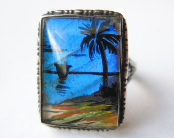 Vintage 40s Sterling Silver Butterfly Wing Tropical Palm Tree Silhouette Miniature Ring