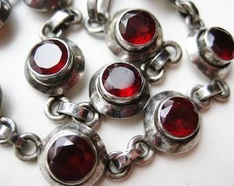 Vintage Sterling Silver Jeweled Red Garnet Link Bracelet