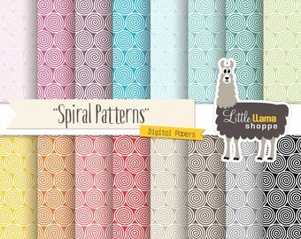 SALE: Swirls Digital Papers, Spiral Digital Scrapbook Paper, Swirl Background Textures, Commercial Use, Instant Download