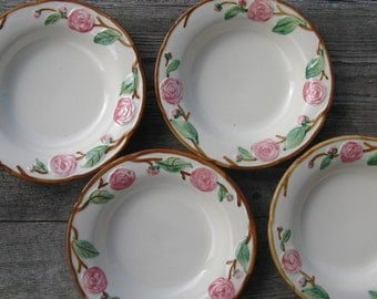 metlox pottery camellia soup bowls  1940s california pottery set of 4 hand painted