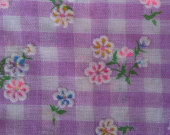 Vintage Flocked Gingham Fabric Purple Floral 2 1/2 yards X0401