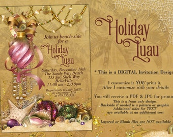Luau Christmas, Christmas Party Invitations, Tropical Holiday Party, Beach Christmas