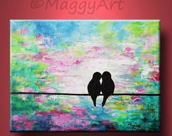 love birds on wire,art acrylic painting, home decor, wall art, original painting,kissing birds 16x12inch stretched canvas,great wedding gift