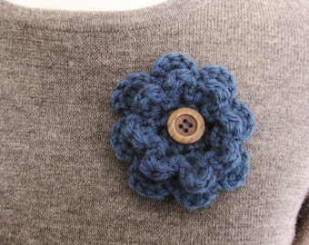 Crochet Flower Pin-Blue Flower Pin-Blue Flower Brooch-Blue Crochet Flower-Crochet Flower with Button-Crocheted Pin-Blue Crochet Brooch