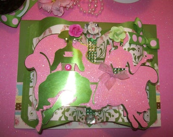 Happy Birthday - Ladies Having Tea - 3D Embellished Pink and Green Greeting Card - Crafted by Hand - sheshefoofoocards