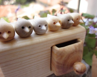 Miniature chest of drawers with flock of birds, Jewlery box, wood carving, sculpture box, wood box, Personalized box