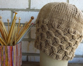 Camel  Lattice  Hat Knitted Hat Gift under 25 dollars