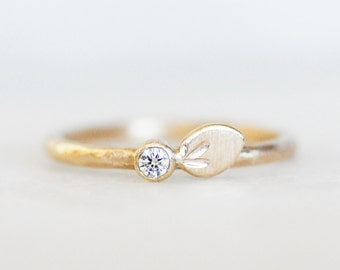 Diamond Petal Wedding Ring - 14k Gold Engagement Band - Eco-Friendly Recycled Gold