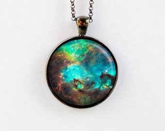 Outer Space Jewelry - Astronomy Necklace - Galaxy Pendant Star Space Pendant Necklace - Teal Brown Green - Large Magellanic Cloud