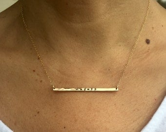 Gold Bar Necklace, 14 k Gold Fill Bar Necklace-Armenian or English