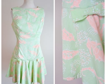 1960s Mint green novelty print seahorse romper with culotte leg / 50s playsuit - S M