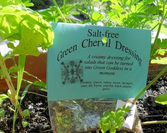 Salt-free Green Chervil Salad Dressing, Hand-blended dry herb mix, gluten free, salt free