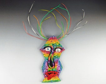Wire Head Spirit Mask Wall Art in Rainbow Polymer Clay Tribal Mask