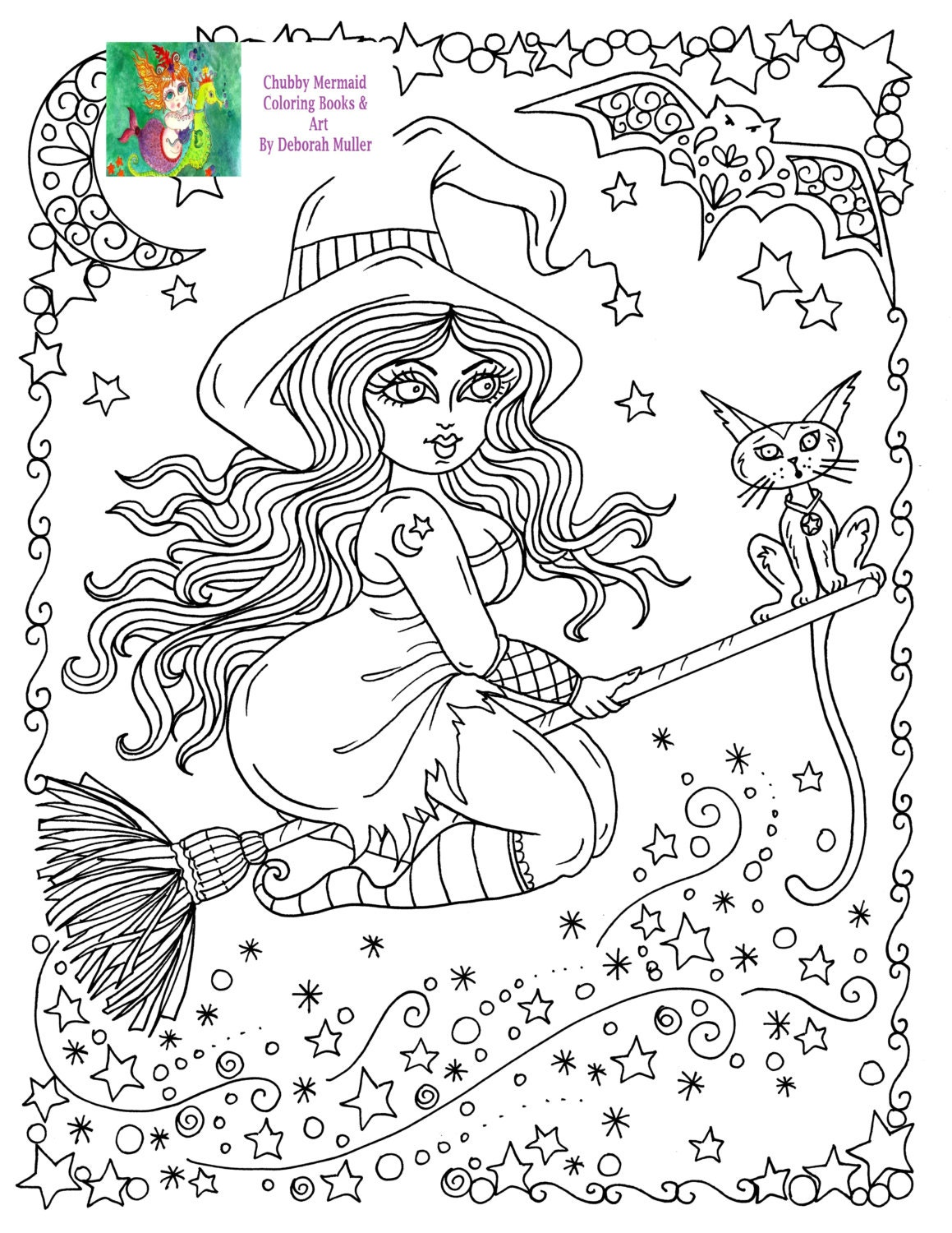 instant download chubby flying witch halloween coloring page