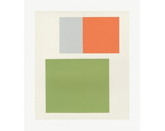Mid century modern, minimal art, colour block screenprint. Abstract handmade art, green and orange by Emma Lawrenson