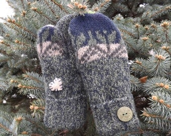 Wool Mittens Fleece Lined Forest Green and Navy Wool Sweater Mittens