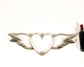 """RING ART - """"Volitant"""" - Wine Barrel Ring Heart with wings - 100% recycled"""