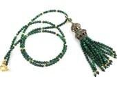 Ethnic Turkish Tassel Necklace Green Hedge Maze Malachite Gemstone Statement Gypsy Hippie Bohemian Artisan - One Of A Kind