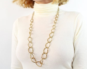 VINTAGE Chain Necklace Brass Link