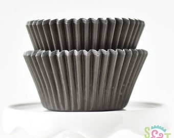 Solid Black BakeBright GREASEPROOF Baking Cups Cupcake Liners | ~30 count