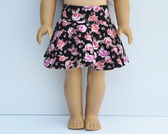 American Made Doll Clothes - Skater Skirt, Fuchsia, Coral, Black, Floral, 18 inch, AG Doll, Bottoms