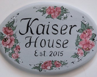 Ceramic Address Plaque,  Hand Painted Custom House Sign - Floral