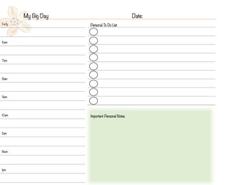 My Big Day - A Daily Planner Form to Organize Your Business and Personal Life -  8.5x5.5 size suitable for Franklin / Daytimer Binders