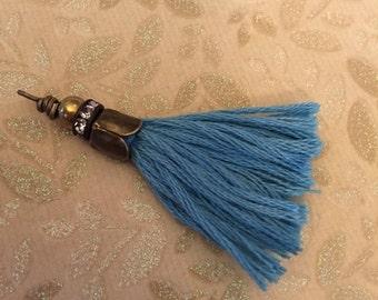 sale New handmade CHARM tassel fringe CERULEAN BLUE