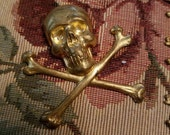 Vintage Lot of 15 Brass Skull and Cross Bone Jewelry Findings Small and Large