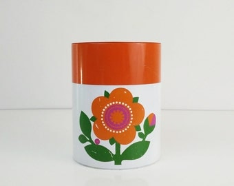 Vintage Metal Canister / Bright Orange Flower / Kitchen Storage