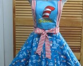 Cat in the Hat Inspired Party Retro Apron - Great for your upcoming Birthday Party