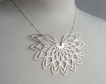 Sacred Geometry 3d Printed Statement Necklace- Sterling Silver