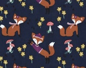Lil Foxy Fabric in Navy by Michael Miller Fabrics 1 Yard