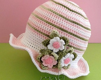 Crochet pattern - Baby girl crochet hat! Baby hat crochet pattern. Permission to sell finished items. Pattern No. 134