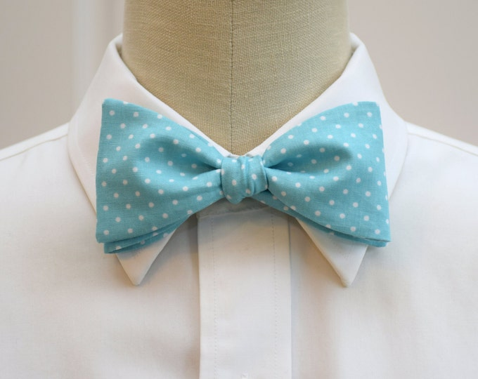 Men's Bow Tie, Caribbean blue with white mini polka dots, aqua white bow tie, wedding bow tie, groom bow tie, groomsmen gift, prom bow tie,