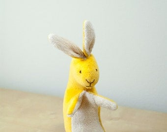 Eco Friendly Cute Bunny Baby Rabbit Velvet Soft Sunny Yellow Plush Australian Made