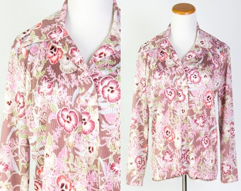 Vintage 1970s Taupe Coral Purple Floral Accordion Pleated Front Disco Collar Button Down Blouse // Blue Lavender Purple Green Orchid Flowers