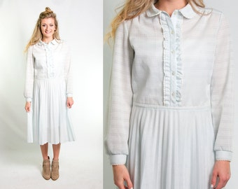 Vintage 1970s Ice Blue & White Plaid Dress * Tuxedo Front Ruffles Lace Peter Pan Collar Accordion Pleated Skirt * Size Large * FREE SHIPPING