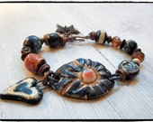 Artisan Unique Boho Bracelet in Denim Blue