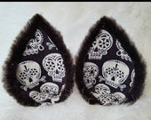 Black Skull Glow in the Dark Wolf Ear Clips Black Kitty Ears