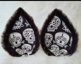 Black Skull Glow in the Dark Wolf Ear Clips Black Kitty Ears