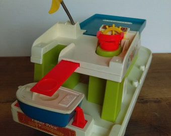 Vintage Fisher Price Happy Houseboat with Lifeboat