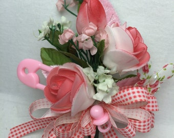 Corsage Pink Girls Baby Shower Mom to Be Coral Hot Pink Ribbon Mum