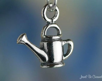 Small Watering Can Charm Sterling Silver Gardener Miniature Tiny .925